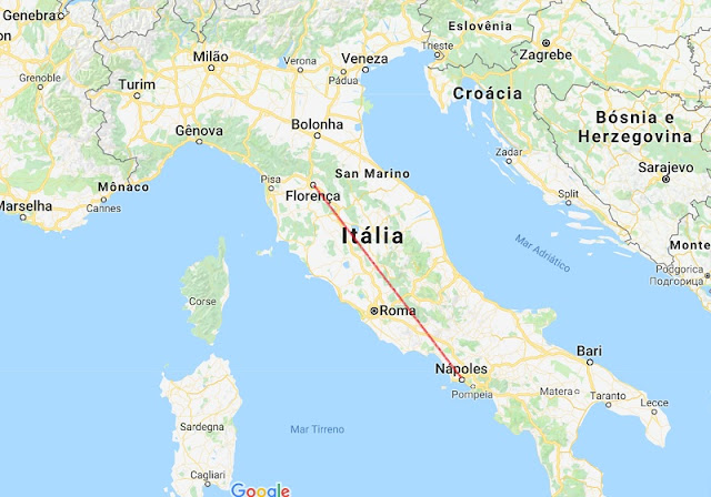 Mapa da viagem entre Nápoles e Florença