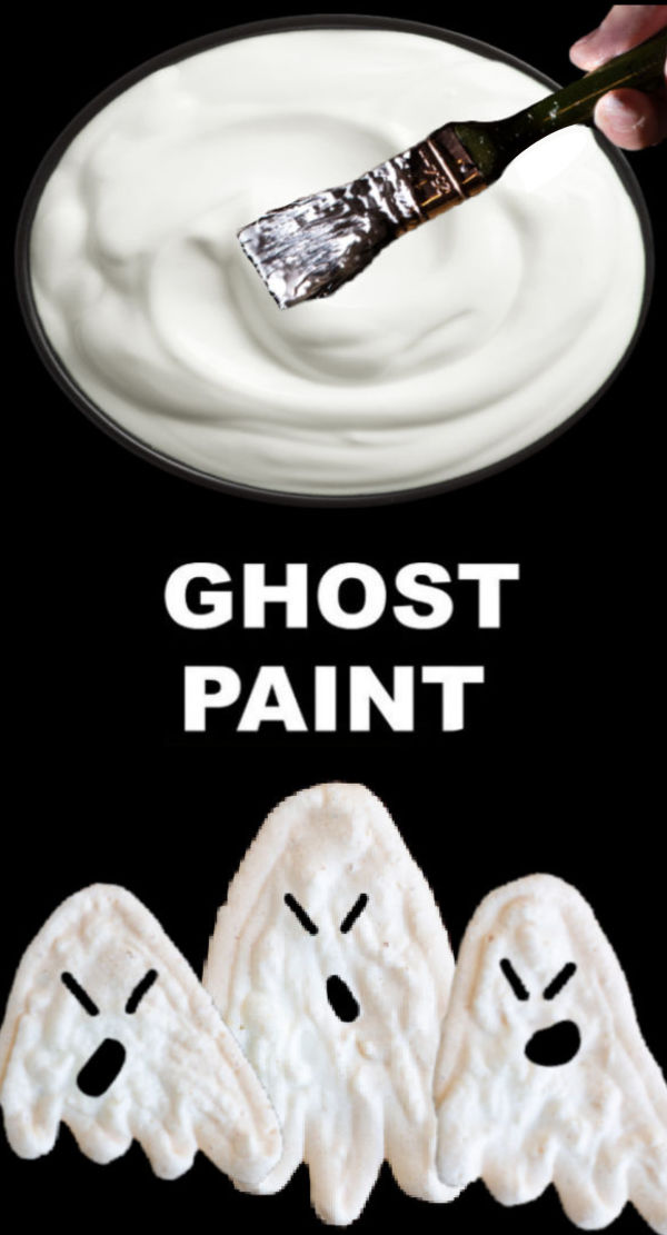 Icy-cold ghost paint recipe for kids #ghostpaint #ghostcraftsforkids #paintrecipeforkids #halloween