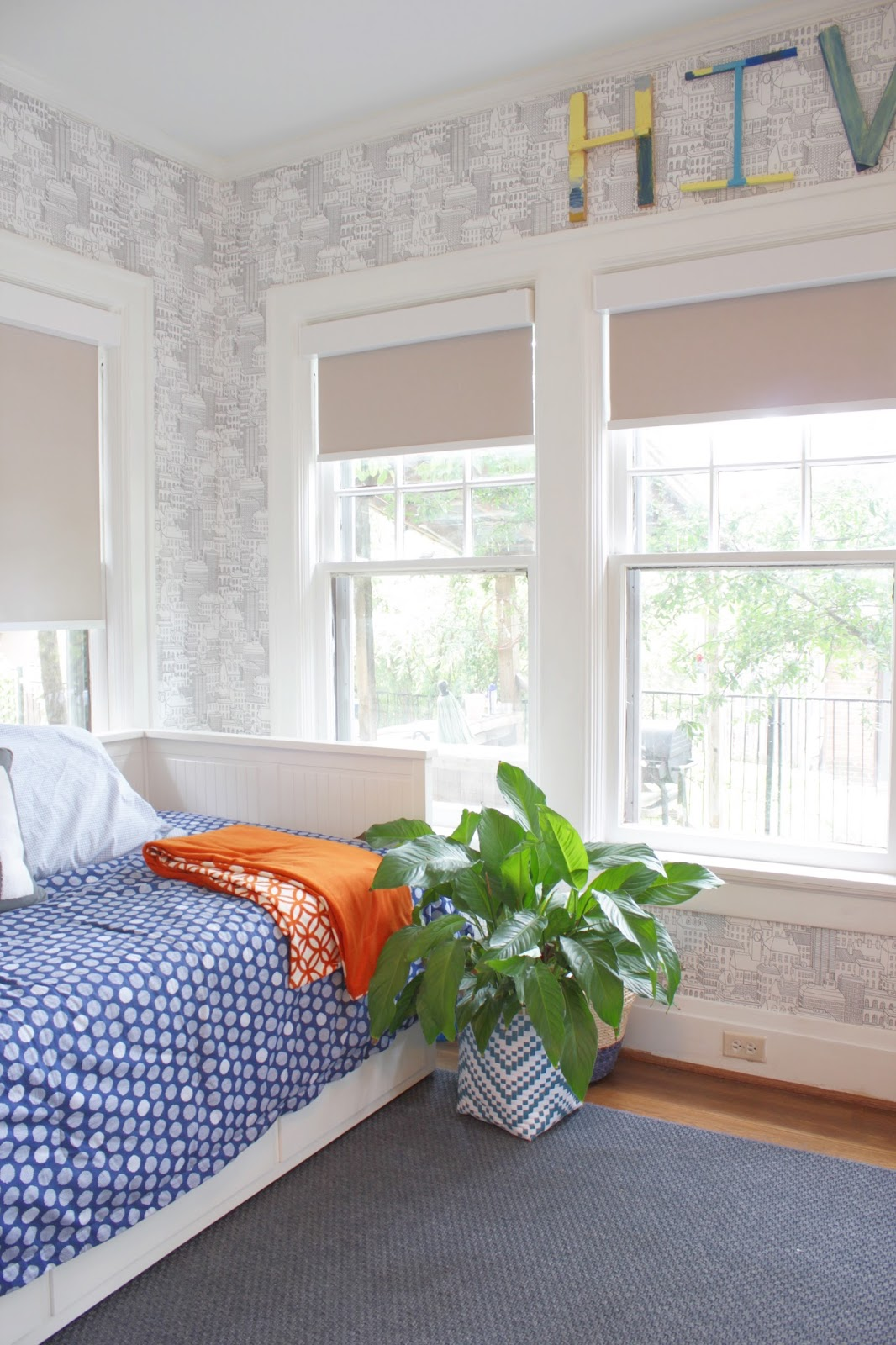 Thank you, American Blinds for a room full of shades for this modern, eclectic nursery.