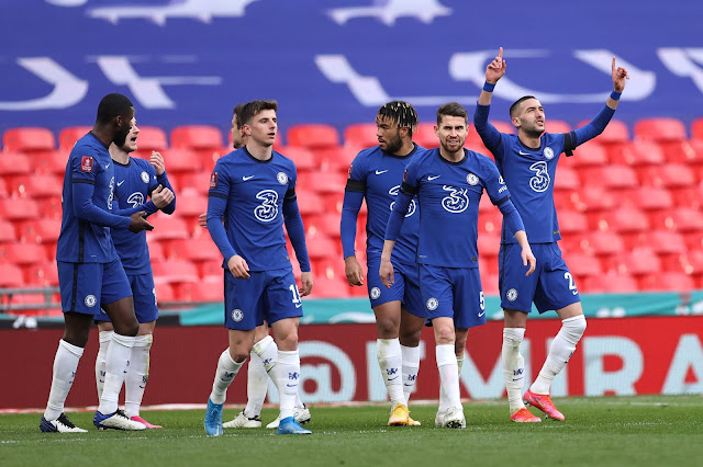 Chelsea players celebrate win over Man City in the FA Cup semi-final