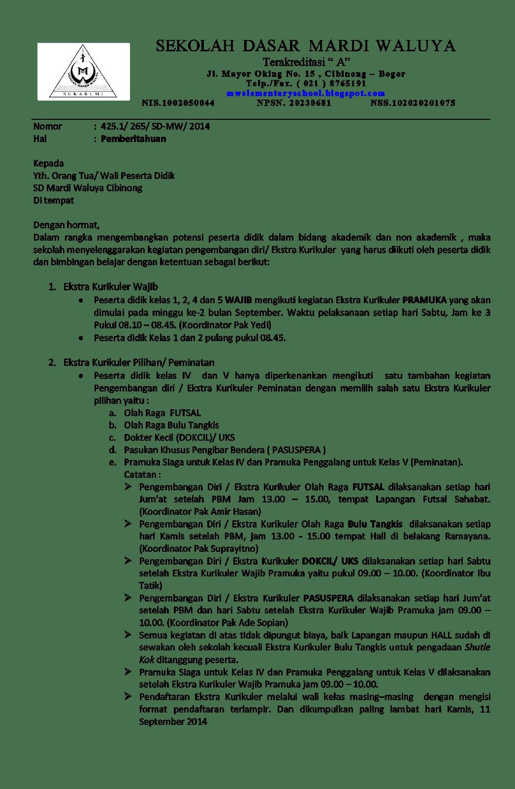 Contoh Format Surat Pemberitahuan Resmi Untuk Orangtua Murid