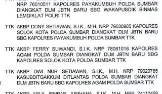 Kapolres Solok Kota, Dony Setiawan, Dimutasi ke Payakumbuh