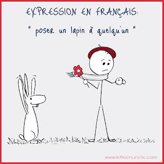 poser un lapin, expression illustrée, expression français, français illustré, FLE, le FLE en un 'clic'