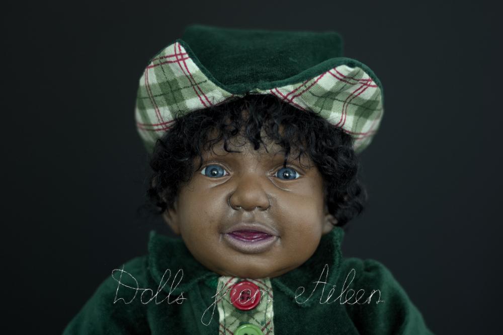 ooak Christmas elf art doll's face
