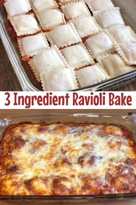 3 Ingredient Ravioli Bake (A.K.A. Lazy Lasagna) #recipes #dinnerrecipes #quickdinnerrecipes #food #foodporn #healthy #yummy #instafood #foodie #delicious #dinner #breakfast #dessert #lunch #vegan #cake #eatclean #homemade #diet #healthyfood #cleaneating #foodstagram
