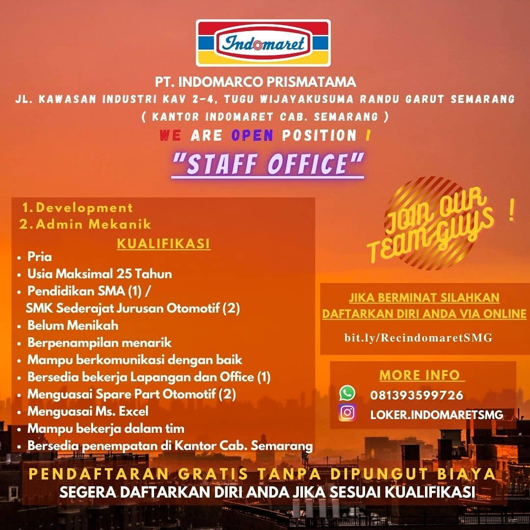 Indomaret Kantor Cabang Semarang Membuka Lowongan Staff Office Development & Admin Mekanik