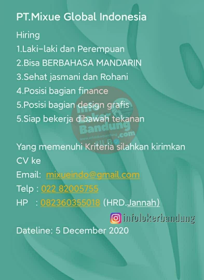 Lowongan Kerja PT. Mixue Global Indonesia Bandung Desember 2020