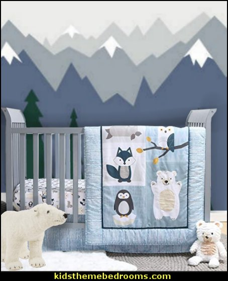 Nordic Wonder 4 Piece Arctic Baby Crib Bedding Set  penguin bedrooms - polar bear bedrooms - arctic theme bedrooms - winter wonderland theme bedrooms - snow theme decorating ideas - penguin duvet covers - penguin bedding - Snow queen - winter wonderland party ideas - Alaska - White Christmas