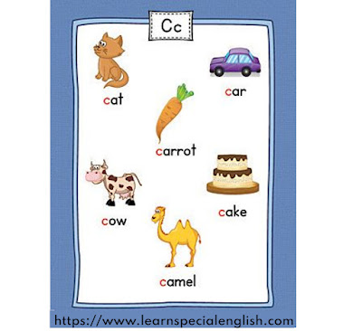 6 English words that start with a C letter for kids