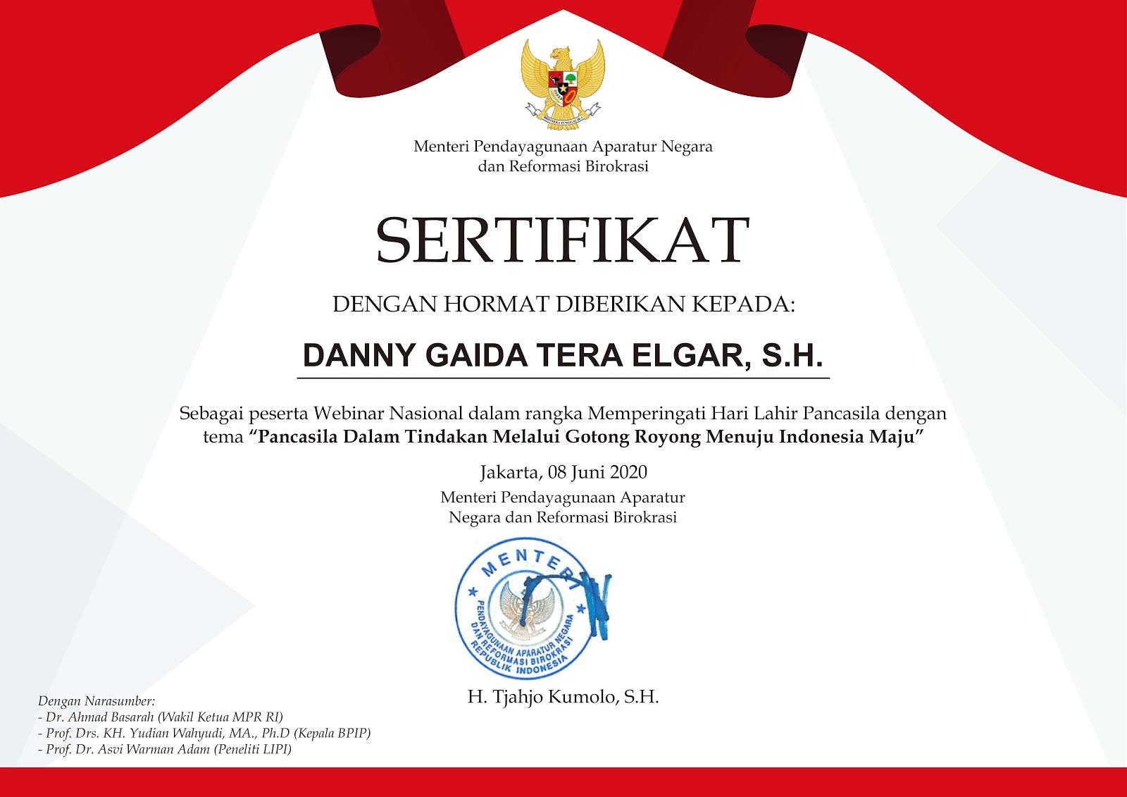 Sertifikat Menteri Pendayagunaan Aparatur Negara dan Reformasi Birokrasi (Menteri PANRB) 8 Juni 2020