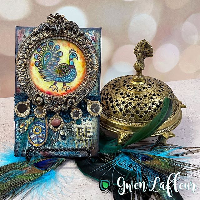 Gwen Lafleur PaperArtsy May 2021 Stamp Release - EGL18 Peacock Mixed Media Panel