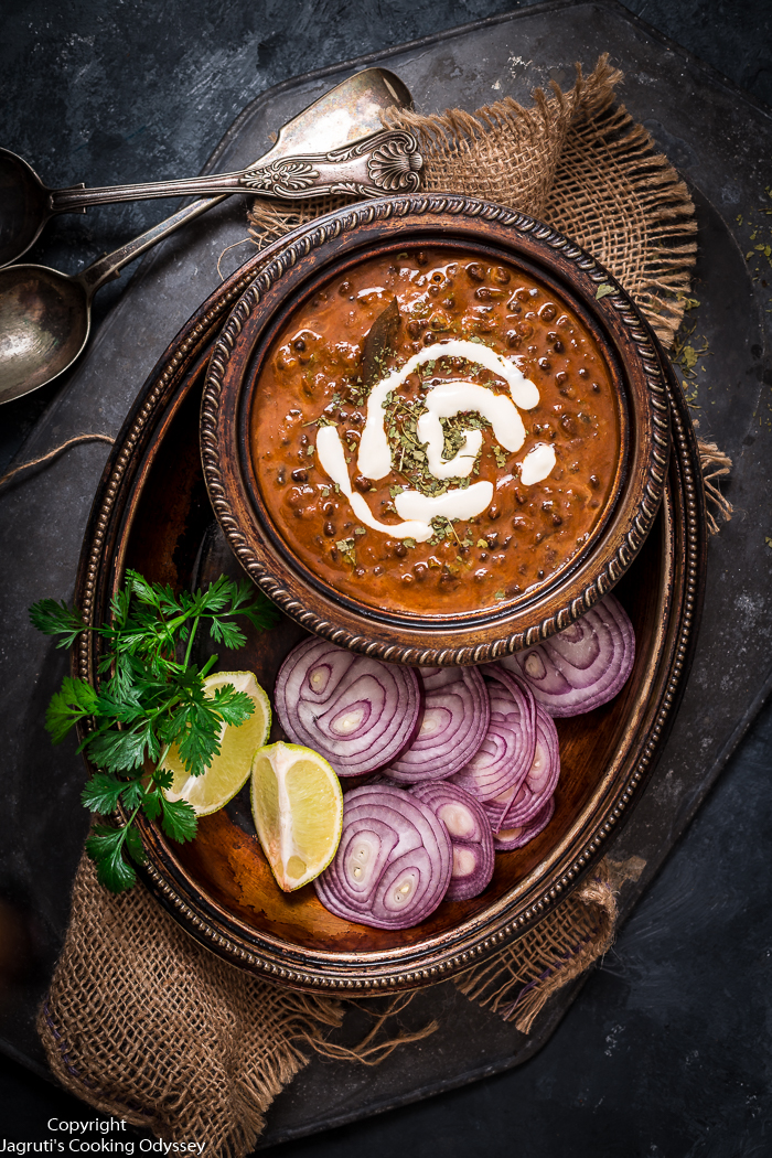 image of creamy black lentil dal