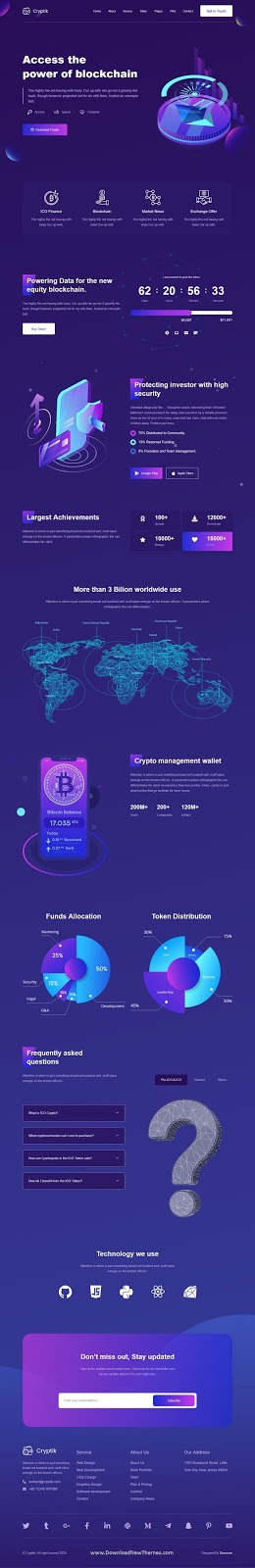 Crypto Currency & ICO React landing Page