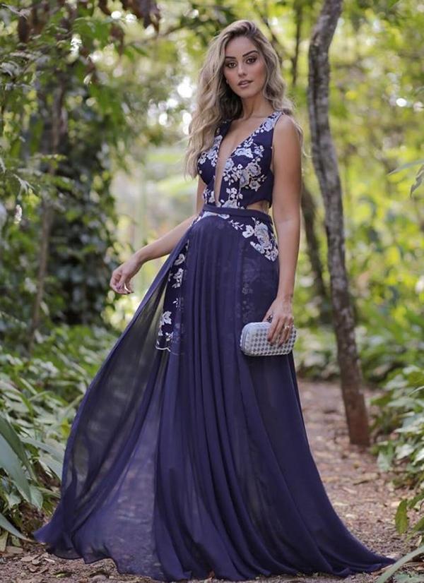 vestido azul marinho madrinha casamento dia