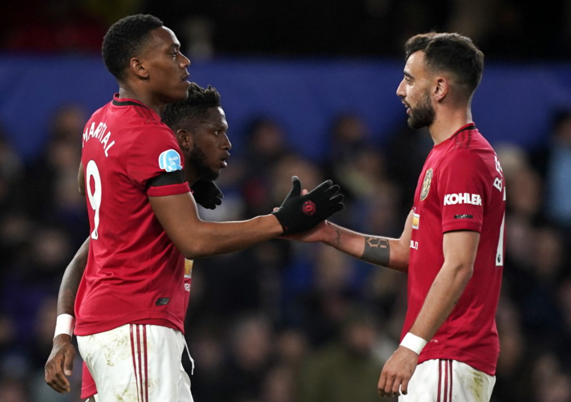 Manchester United's Fred, Anthony Martial and Bruno Fernandes