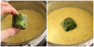 adding frozen nugget-sized spinach to creamy pasta sauce