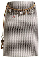BALENCIAGA  Houndstooth chain-belt pencil skirt