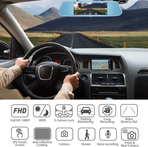 Ancarleela 1080P 7 inch Car Mirror Dash Cam