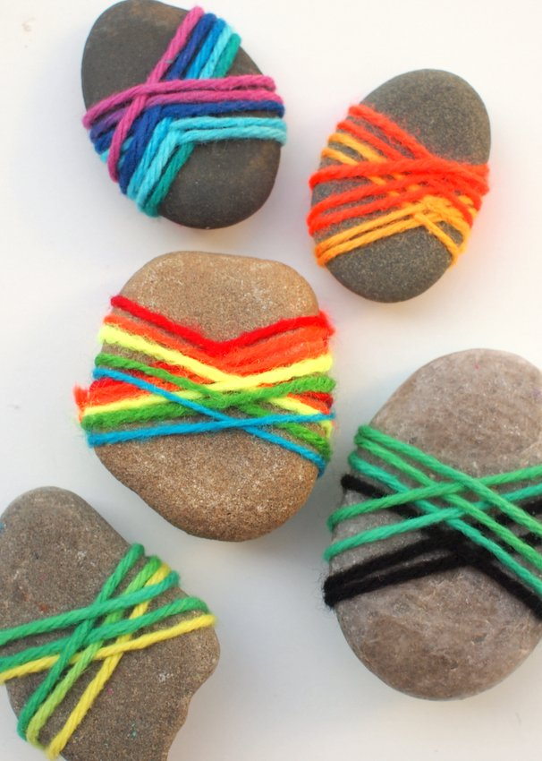 Lovely yarn wrapped rocks pink stripey socks for Crafts made from rocks