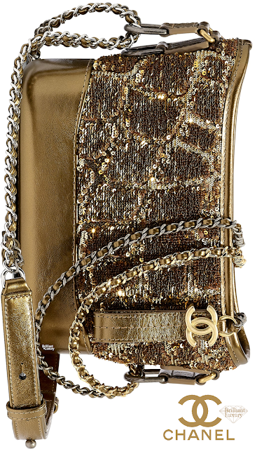 Brilliant Luxury♦Chanel Gabrielle Sequined Calfskin Hobo Bag #gold