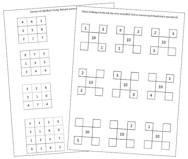 na zdjęciu dwie kartki a4 z ćwiczeniami. Tabelkami, w których wypełniamy liczby aby dały wynik dziesięć.