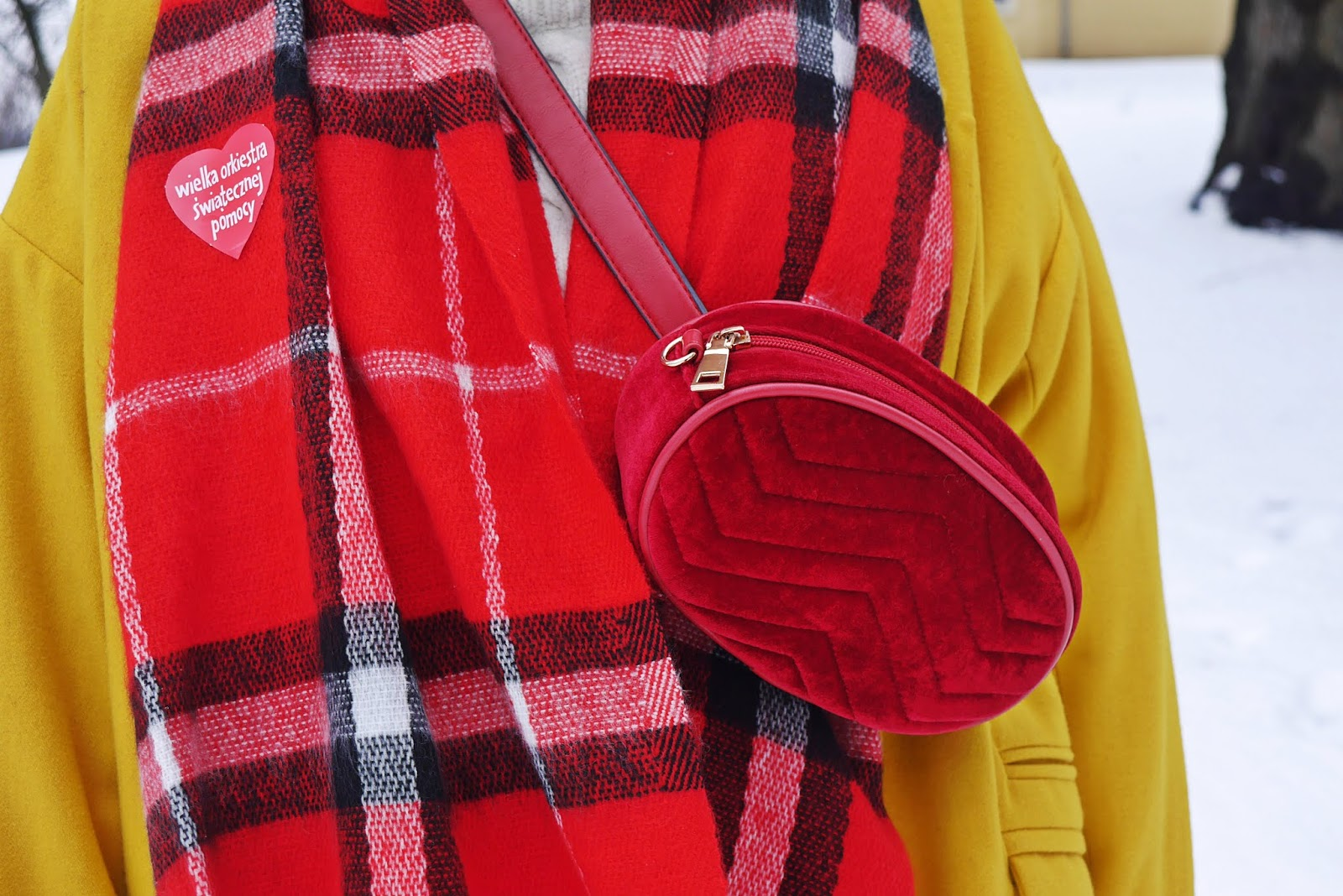 yellow coat embroidery boots red plaid scarf karyn fashion blogger outfit