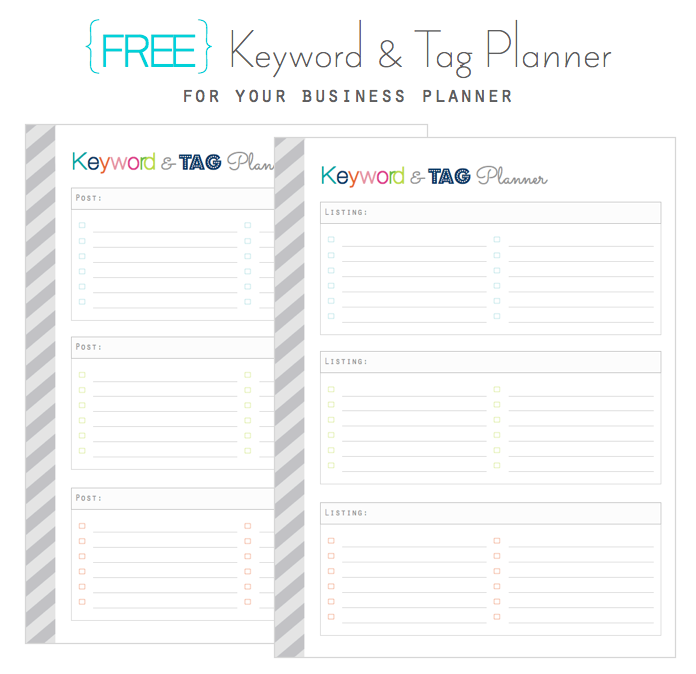 Clean life and home freebie keyword and tag planner for for Home planner free