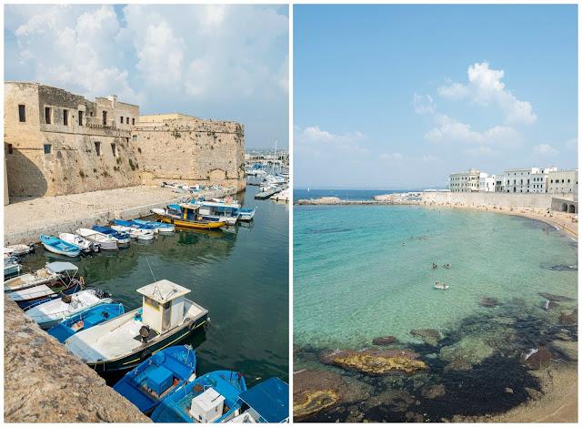 A la izquierda vista del puerto viejo de Gallipoli con el Castillo Angioino. A la derecha vista de la muralla de Gallipoli con sus fachadas asomadas al mar turquesa