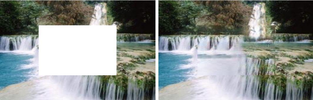 Работа алгоритма PEN-Net по восстановлению фотографии с пейзажем