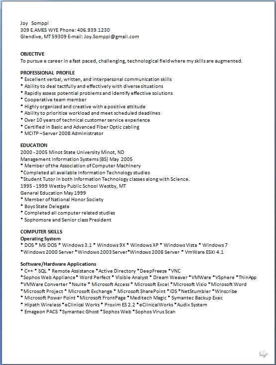 management information systems sample resume format in word free