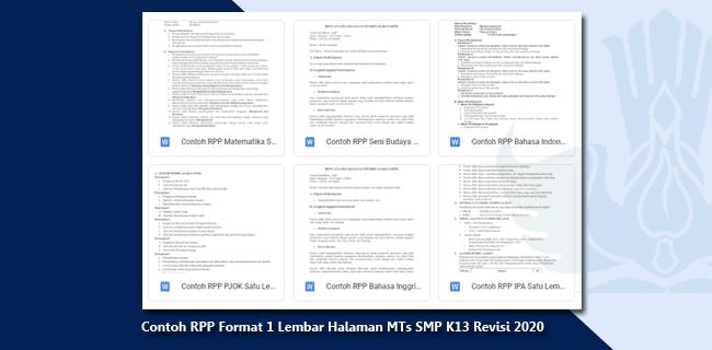 Contoh RPP Format 1 Lembar Halaman MTs SMP K13 Revisi 2020
