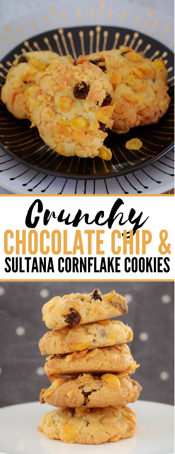 CRUNCHY CHOCOLATE CHIP & SULTANA CORNFLAKE COOKIES #desserts #kidfriendly