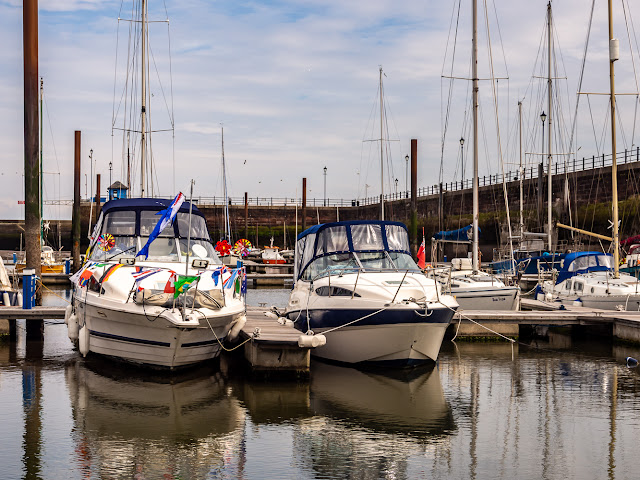 Photo of boats decorated for the open day
