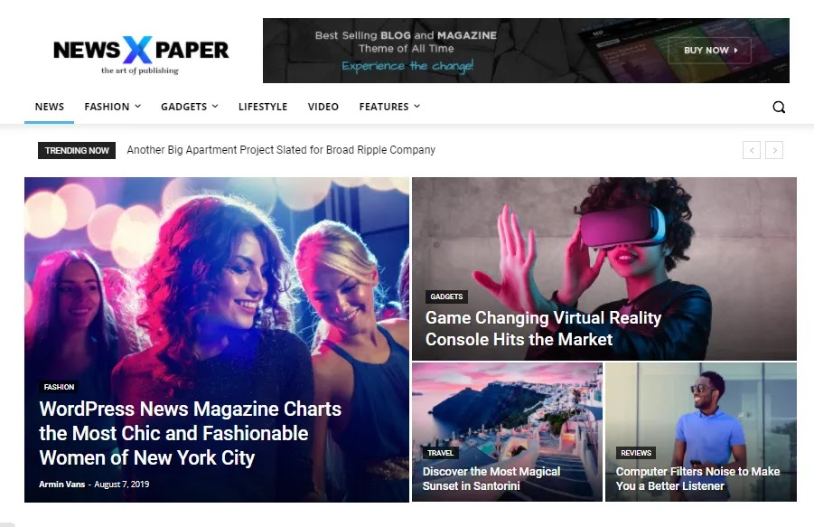 Fully functional & beautiful newspaper x theme home page