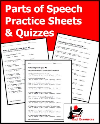 Free parts of speech practice sheets and quizzes from Raki's Rad Resources