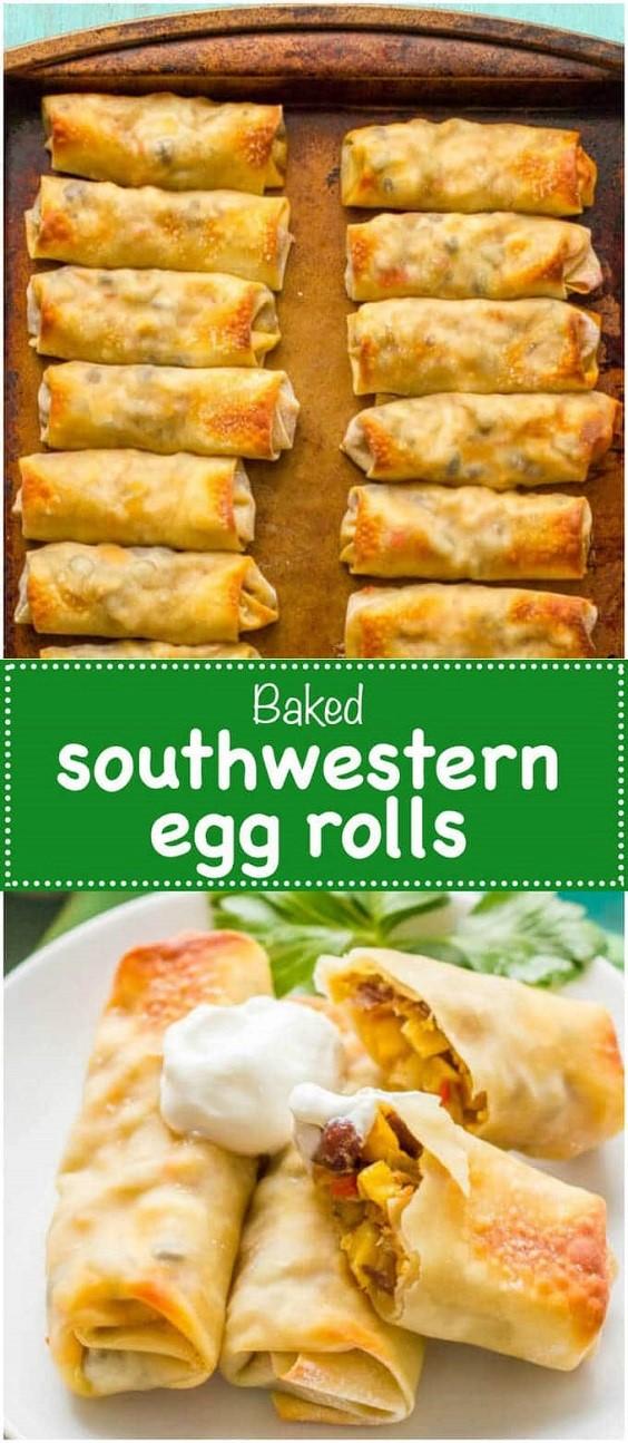 Baked Southwestern Egg Rolls #breakfast #brunch