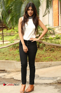 Actress Chandini Chowdary Pictures in Black Denim Jeans at Kundanapu Bomma Telugu Movie Press Meet 0144