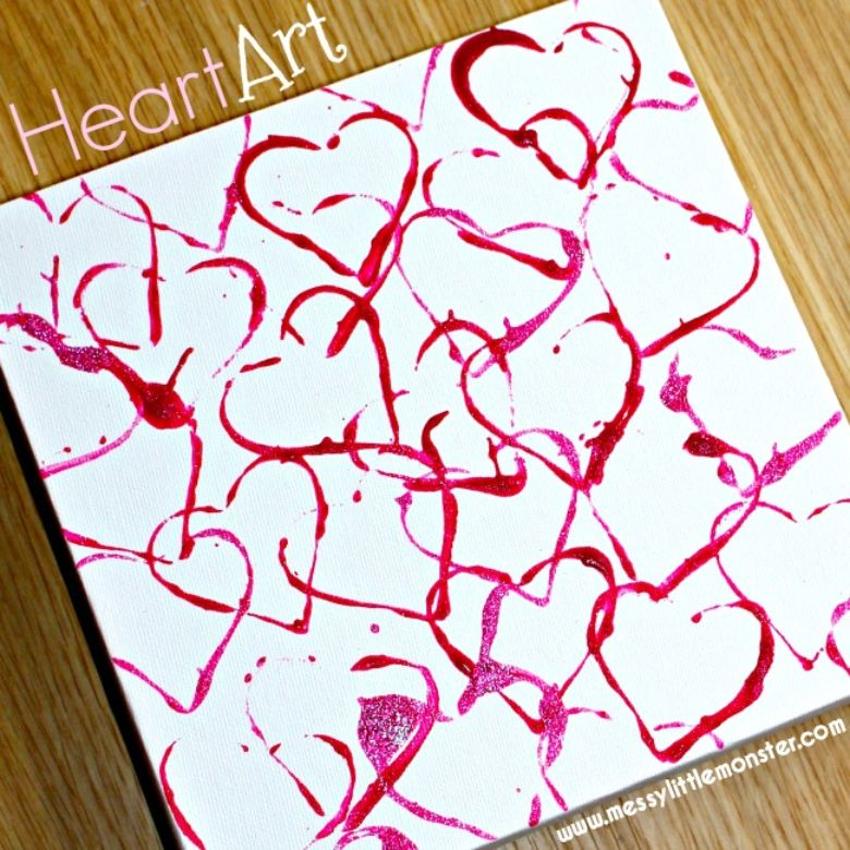 heart art painting for toddlers and preschoolers