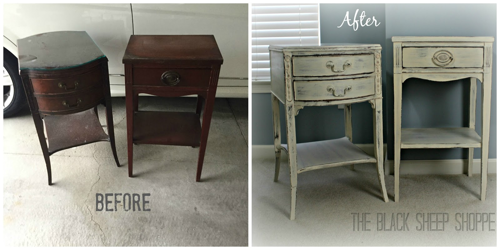 Shabby chic nightstands: before and after