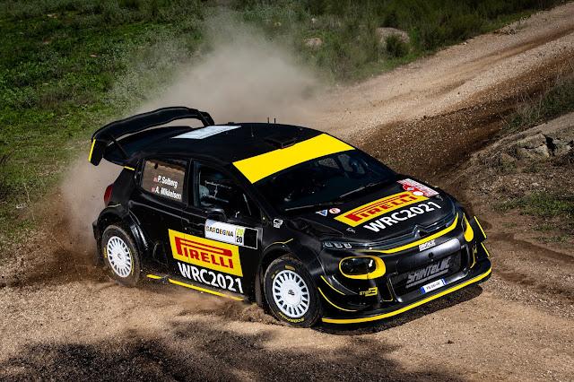 Petter Solberg in a Citroen C3 World Rally Car testing Pirelli tyres in Sardinia Rally
