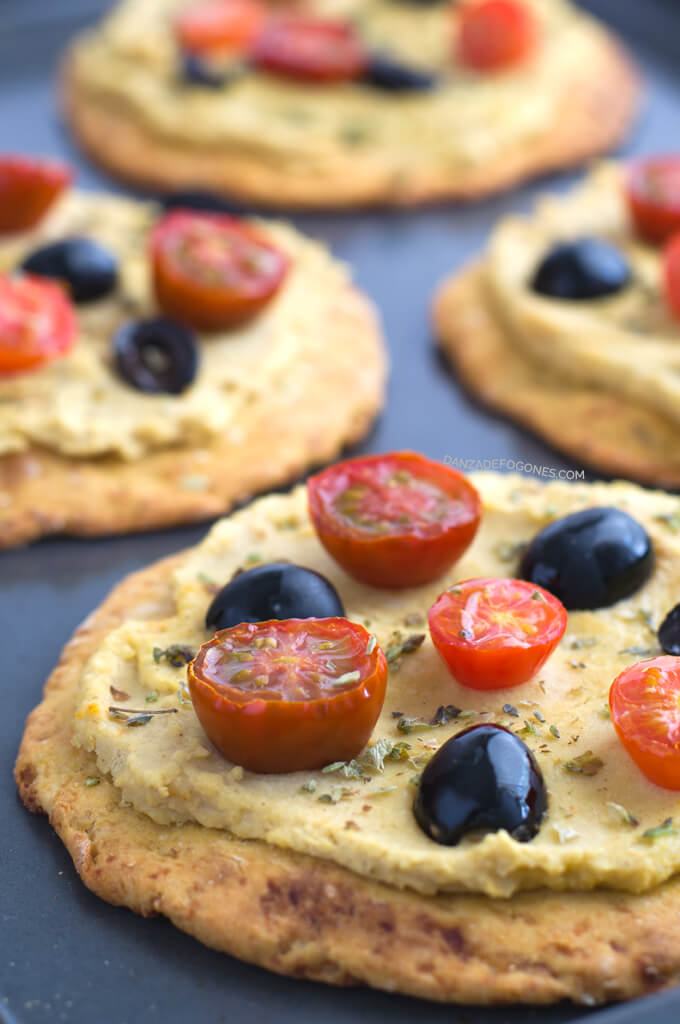Hummus, cherry tomatoes and black olives pizza | danceofstoves.com