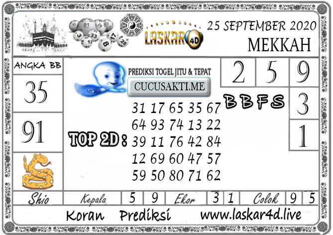 Prediksi Togel MEKKAH LASKAR4D 25 SEPTEMBER 2020