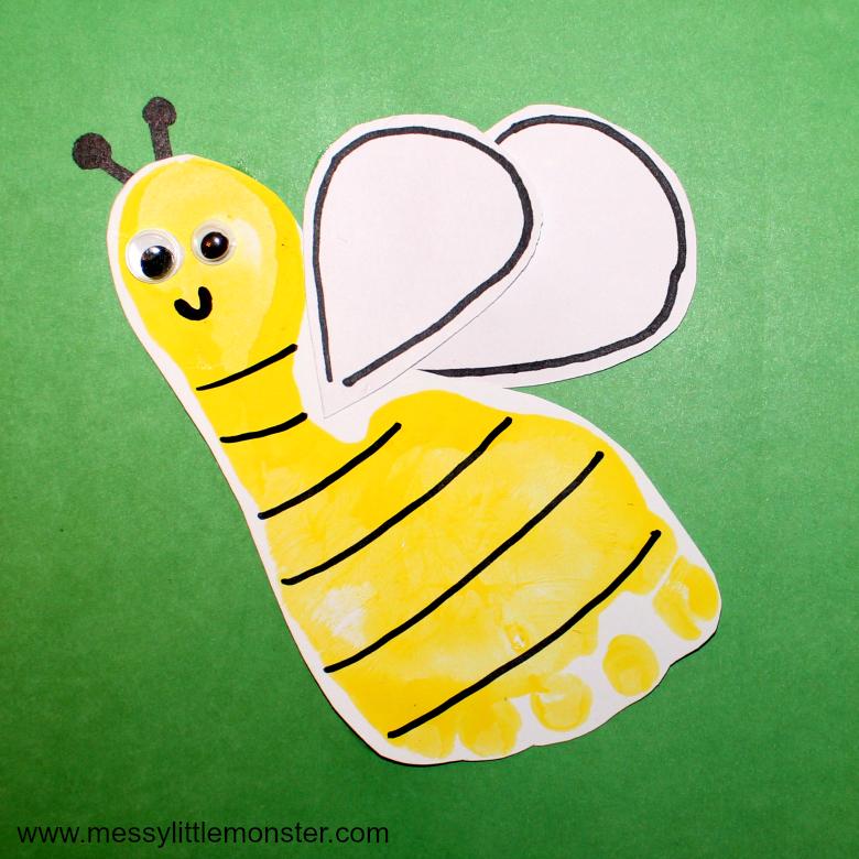 Bumble Bee Footprint Craft Messy Little Monster