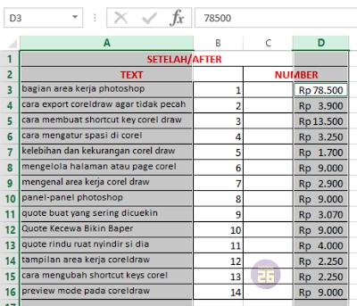 Hasil Mengatur Lebar Kolom dan Tinggi Baris Excel
