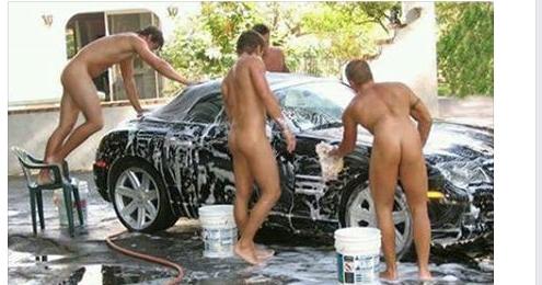 Nude men washing cars girls