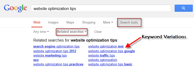 Keyword Variations from Google Results