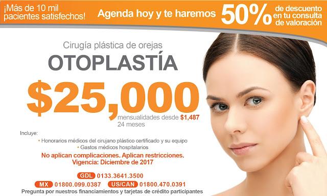 Precio Paquete Cirugia Plastica Estetica Orejas Otoplastia Guadalajara Mexico