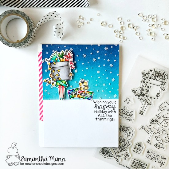 Holiday Decorating Card by Samantha Mann | Christmas Trimmings Stamp Set and Petite Snow Stencil by Newton's Nook Designs #newtonsnook #handmade