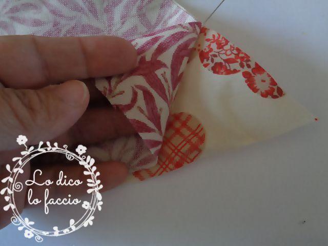 cucire petali cuscino