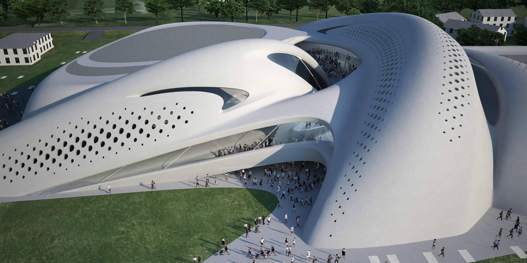 مركز المال والأعمال في جوسولو في ايطاليا من تصميم الراحلة زها حديد .